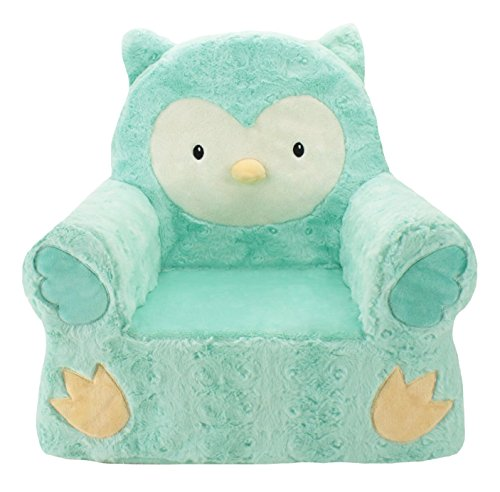 Animal Adventure Sweet SeatsTeal Owl Children's ChairLarge SizeMachine Washable Cover (2 1 Lounge)