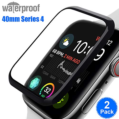 Nano-Flexible Screen Protector Compatible Apple Watch Series 4 40mm RUCHBA 3D Curved Flexible HD Clear Waterproof Anti-Bubble Anti-Impact Compatible with iwatch Series 4 40mm - 2Pack