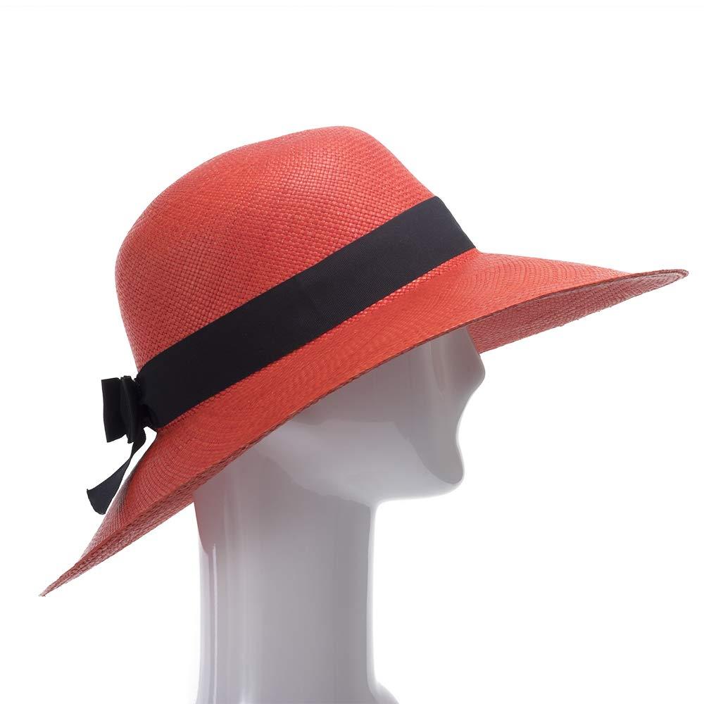 Ultrafino Francesca Wide Brim Straw Panama Sun Hat RED by Ultrafino (Image #3)