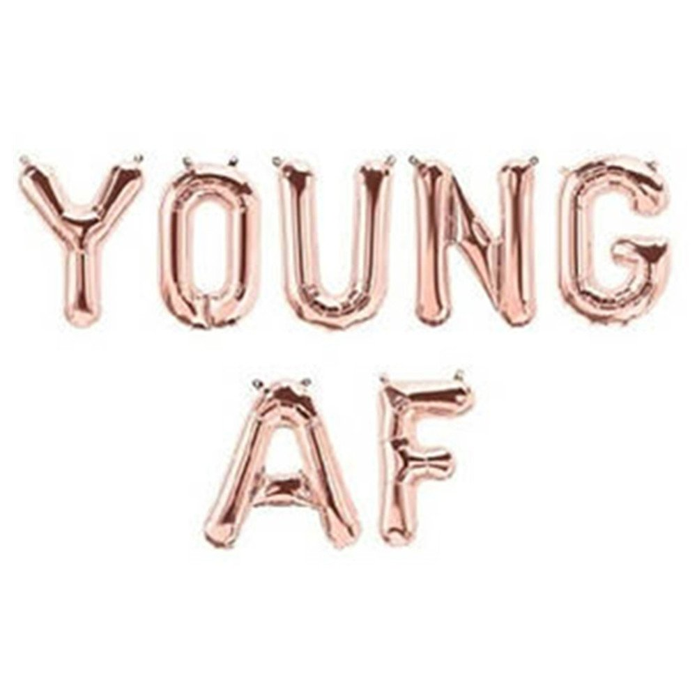 Young AF Letter Balloons Hanging Banner For Birthday Party, 16'', Rose Gold