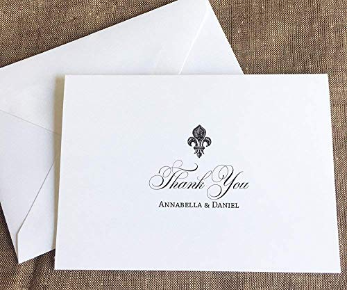 Fleur de Lis Wedding Thank You Note Cards, New Orleans Stationary, Set of 10 folded note cards and envelopes ()