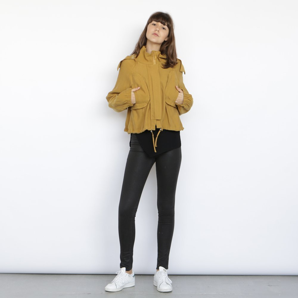 Monti Coat , Yellow winter coat, Cropped jacket, Short hoodie. by Naftul