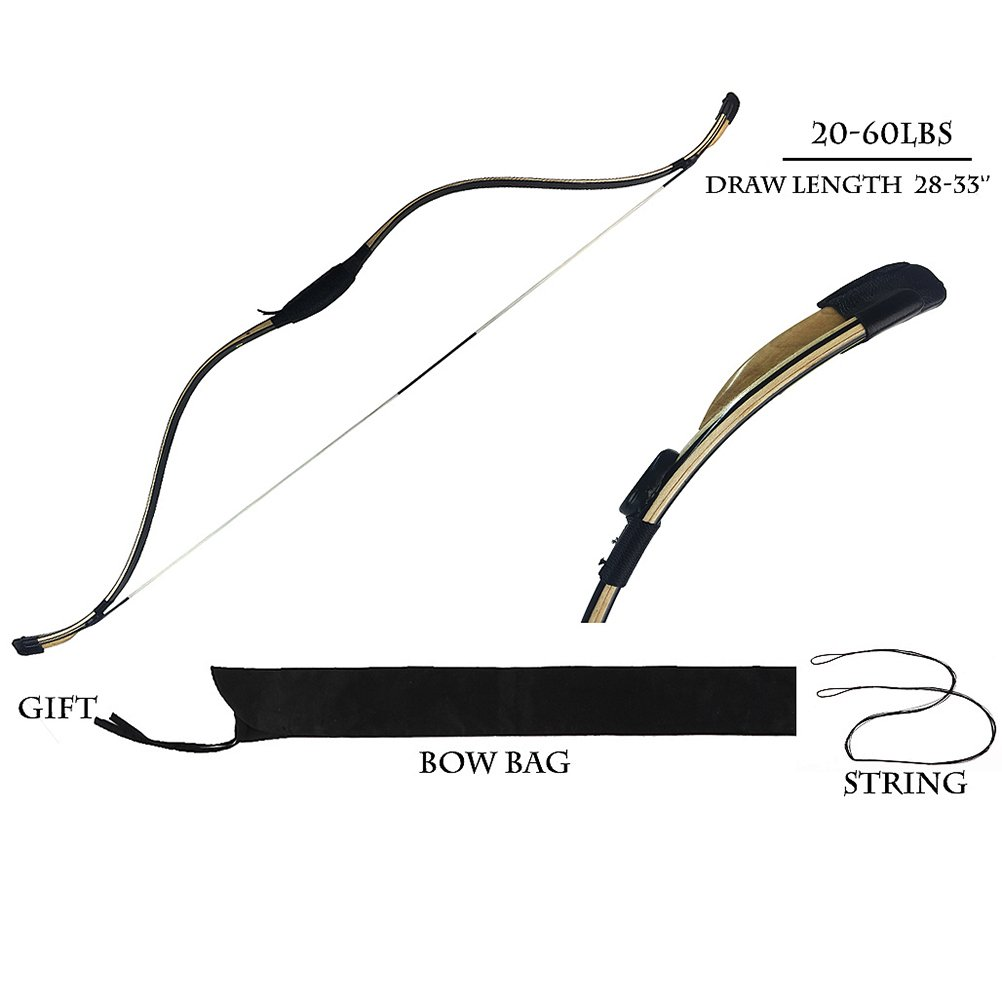 PG1ARCHERY Traditional Archery Recurve Bow, Basic Handmade Horsebow Korean Longbow for Hunting Practice Target Left and Right Handed 20-60lbs 20