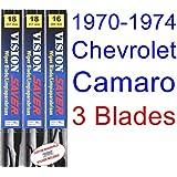 1970-1974 Chevrolet Camaro Replacement Wiper Blade Set Kit (Set of 3 Blades) (Saver Automotive Produ