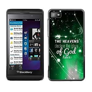 Paccase / Dura PC Caso Funda Carcasa de Protección para - BIBLE The Heavens Declare The Glory Of God - Psalm 19:1 - Blackberry Z10