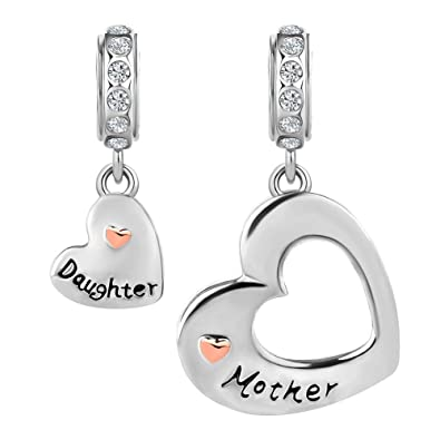 8de35e88c Amazon.com: CharmSStory Mom Mother Daughter Heart Love Dangle Charm Beads  for Snake Chain Bracelet (Heart Mother Daughter): Jewelry