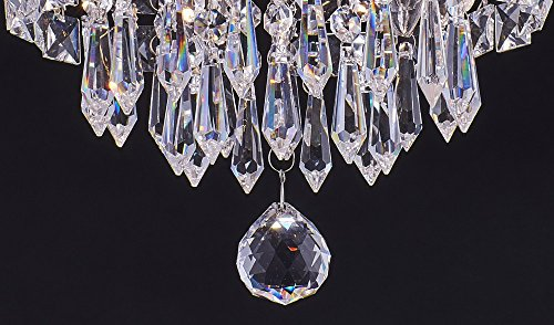 SHUPREGU Smart Lighting 3-Light Modern Crystal Chandelier, Flush Mount Crystal Ceiling Light, Chrome Finish Pendent Light for Hallway, Bedroom, Kitchen, Dimmer LED Bulbs Included by SHUPREGU (Image #3)
