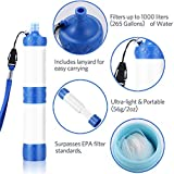 Water Filter,Lavany Portable Filter Suction Pipe Outdoor Wild Water Purifier,Pressure Water Filter For Hiking, Camping, Travel (White)