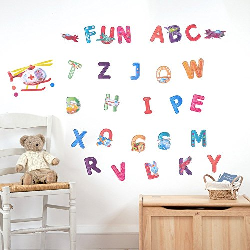 3D Kids Nursery Wall Decals, ABC Peel And Stick Colorful Art Decal Stickers  For Children
