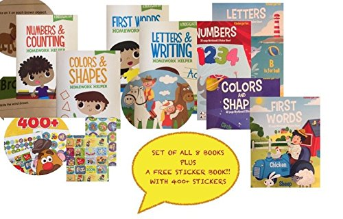 Kindergarten 8 Book Set Educational Activity Workbooks Worksheets Preschool Pre K Kindergarden Prep 1st 2nd Graders Home School Learning Alphabet Math Spelling Addition Subtraction age 2 3 4 year olds ()