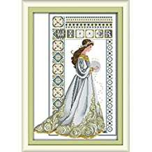 YEESAM ART New Cross Stitch Kits Advanced Patterns for Beginners Kids Adults - Winter Angel 11 CT Stamped 46×66 cm - DIY Needlework Wedding Christmas Gifts