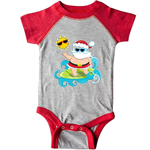 inktastic - Surfing Santa Infant Creeper 6 Months Heather and Red 30ceb