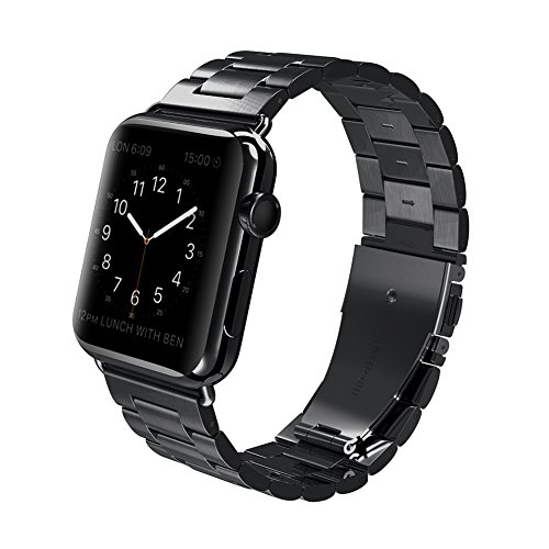(For Apple Watch Band,CHEEDAY Solid Stainless Steel Metal iWatch Strap, Unique Polishing Process Business Replacement For Apple Watch 42mm Series 1/2/3 - Black)