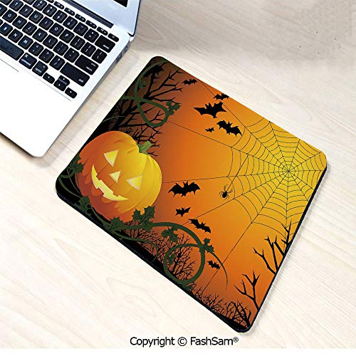 Personalized 3D Mouse Pad Halloween Themed Composition with Pumpkin Leaves Trees Web and Bats Decorative for Laptop Desktop(W7.8xL9.45)]()