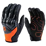 Touchscreen Motorcycle Gloves,FuzzyGreen Premium Leather Full Finger Touch Screen Hard Knuckle Outdoor Sports Riding Racing Cycling Tactical Gloves for Men and Women (L,Orange)