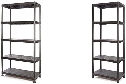 Tayg Kit estantería plástico 945, negro, 900 x 400 x 1800 mm + Kit estantería plástico 745, 700 x 400 x 1800 mm