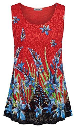 Top Knit Tank Pattern (Tencole Tank Tops Athletic Women, Unique Floral Print Pattern Flowy Hem Running Knit Workout Fancy Clothes Vintage Blouse Tunic)