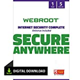 Webroot Internet Security Complete with Antivirus Protection Software 5 Device 1 Year Subscription PC Download
