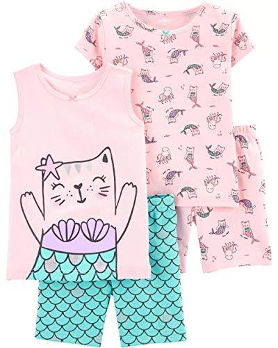 Carter's Girls' 4-Piece Snug Fit Cotton Pajamas (3T, Turquoise/Pink/Cat Mermaid)