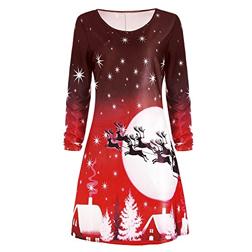 Round Print Long Women's Sleeve Christmas Dress Deer Tee Red Neck CharMma 7Efx7
