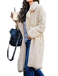 CAIYING Women Lapel Open Front Fleece Long Cardigan Coat Fuzzy Sherpa Outwear Jacket