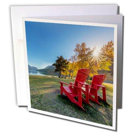 3dRose Danita Delimont - Travel - Red Adirondack chairs along a Lake, Waterton Lakes NP, Alberta, Canada - 12 Greeting Cards with envelopes (gc_277180_2)