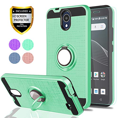 AT&T AXIA Case (QS5509A),Cricket Vision Case with HD Phone Screen Protector,YmhxcY 360 Degree Rotating Ring & Bracket Dual Layer Resistant Back Cover for AT&T AXIA (Cricket Vision) 2018-ZH Mint (At And T Cell Phone Cases)