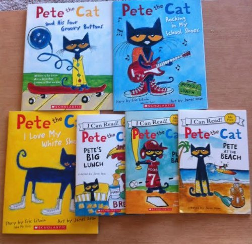 Pete the Cat By Eric Litwin Mega Pack: Includes 6 Paperback Books (Pete the Cat Play Ball, Pete the Cat At the Beach, I Love My White Shoes, Pete the Cat and His Four Groovy Buttons, Pete's Big Lunch, and Rocking in My School Shoes) ()