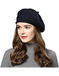 French Style Beret Hats for Women Wool Knit Stretchable Artist Hats 27a5cff7a224
