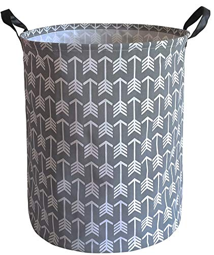 KUNRO Large Sized Storage Basket Waterproof Coating Organizer Bin Laundry Hamper for Nursery Clothes Toys (Gray arrow) - LAUNDRY BASKET SIZE:19.7 inch (height) x 15.7 inch (diameter) MATERIAL:85% linen cotton, 10% PE and 5% leather handle + Waterproof PE Coating Lining EASY TO USE: The laundry hamper adopted collapsible design, equipped with handles . It is lightweight and portable for using, storing, and moving conveniently. - laundry-room, hampers-baskets, entryway-laundry-room - 51WS9wN pQL -