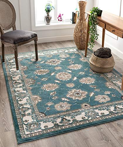 06 Runner Rug - Well Woven Cenna Aqua Blue Traditional Persian Floral Pattern Runner Rug 2x7 (2' x 7'3