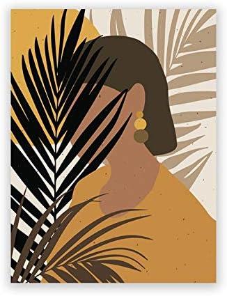 Pintura de Lienzo de Grabado Póster para Mujer de Estilo Africano y Americano a la Moda Abstracta, Impresiones sobre Lienzo de Estilo Afro y Bohemio con imágenes artísticas de Plantas para Pared, DEC