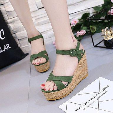 LvYuan Mujer Sandalias PU Primavera Verano Hebilla Tacón Cuña Negro Verde Almendra 10 - 12 cms Green
