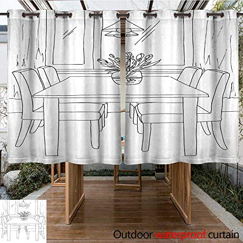 RenteriaDecor 0utdoor Curtains for Patio Waterproof Part of The Dining Room Table and Chairs Near The Window On The Table a vase of Flowers Lamps Hang Over The Table Hand - Arrow Dining Bench Room