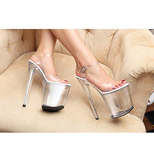 Uniti Dimensioni Europa Sandali Con Alto Fine colore Scarpe In Sexy Trasparente Donna Nero Tacco E Da Long235mm Cristallo Cm shoes 17 Stati 37 SHfqpX