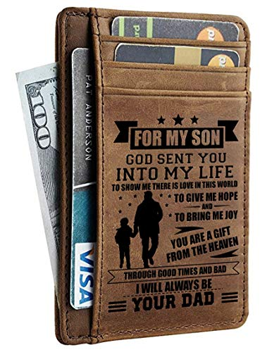 Minimalist Wallets Gift for Son from Dad - Engraved Leather Front Pocket Wallet - Custom Wallet RFID Blocking