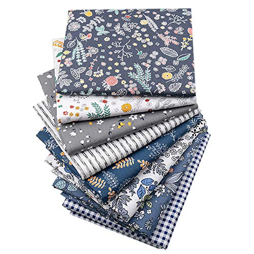 "Quilting Fabric,White Grey Dark Blue Fat Quarters Fabric Bundles,Print Vintage Floral Checked Striped Fabric for Sewing,18""x22"""