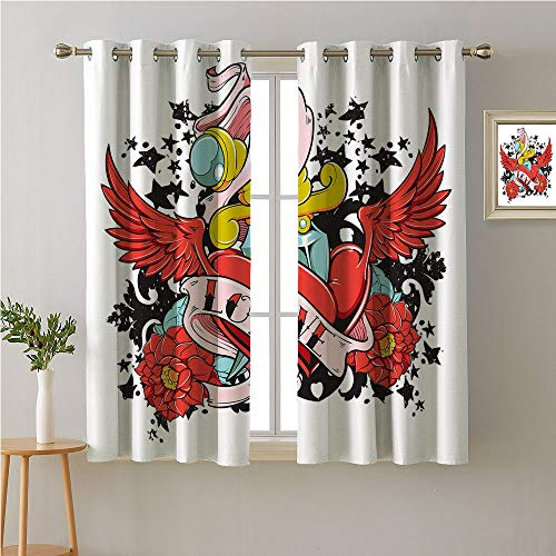(Love Grommets Curtain Decoration,Love Word on a Heart with Wings and Roses on Abstract Black Stars Graffiti Artwork,Fashion Darkening Curtains,55W x 39L)