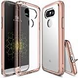 LG G5 Case, Ringke [FUSION] Crystal Clear PC Back TPU Bumper [Drop Protection/Shock Absorption Technology][Attached Dust Cap] For LG G5 2016 - Rose Gold Crystal