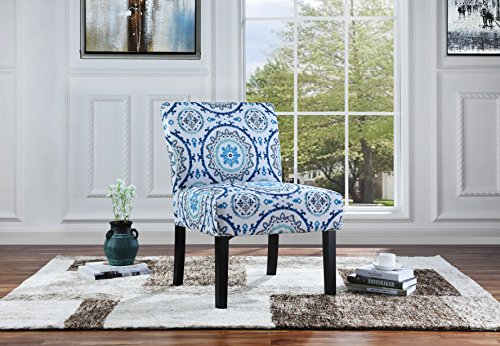 Modern Sleek Linen Fabric Living Room Accent Chair, Dining Chair (Blue Pattern)