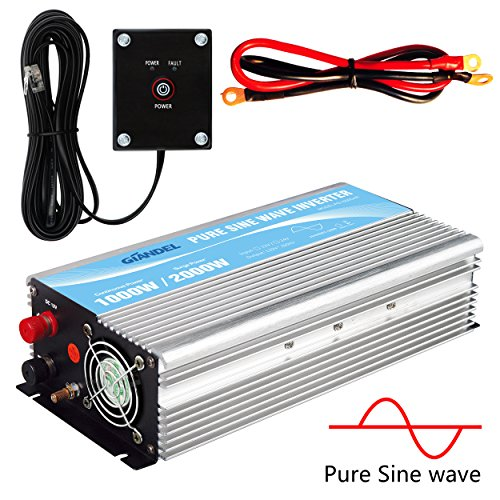 GIANDEL Pure Sine Wave Power Inverter 1000W DC 24V to AC 110V 120V with Remote Control with Dual AC Outlets &1A USB Port for RV Truck Car Solar System and Emergency