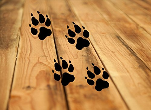 WOLF PAW PRINTS ~ ANIMAL ~: Wall or Window Decal: Set, is 4 paws (one measures) 4.5