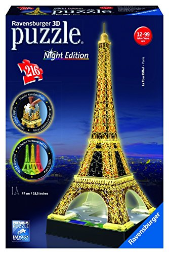 Ravensburger Eiffel Tower - Night Edition - 216 Piece 3D Jigsaw Puzzle for Kids and Adults - Easy Click Technology...