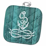 3D Rose Distressed Painted Anchor with Knotted Rope-Not Real Wood Pot Holder, 8 x 8'', White
