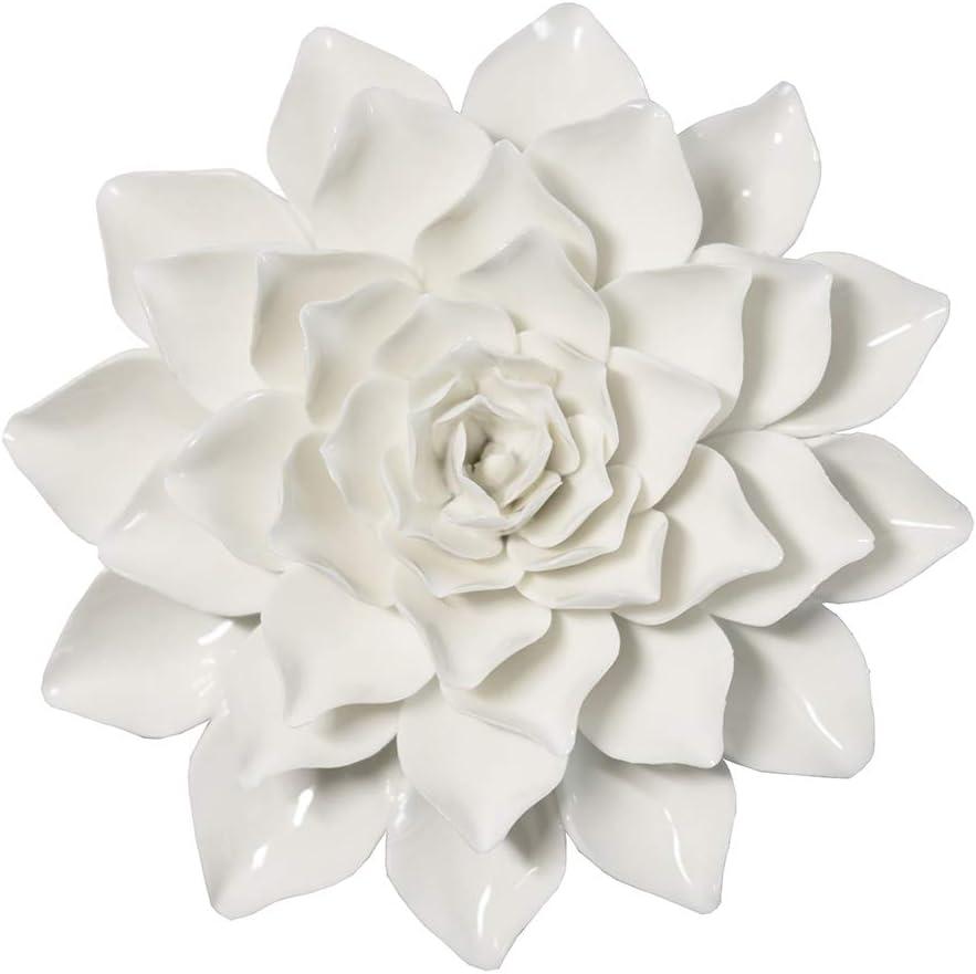 ALYCASO Ceramic Flower Wall Décor Artificial 3D Flower Wall Art for Living Room Home Hallway Bedroom Kitchen Farmhouse Bathroom Dining Room, Dahlia, White, 5.90 inch