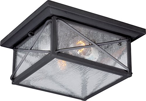 Nuvo Lighting 60/5626 Wingate Flush 2 Light 60-watt A19 Outdoor Close to Ceiling Porch and Patio Lighting with Clear Seeded Glass, Textured ()