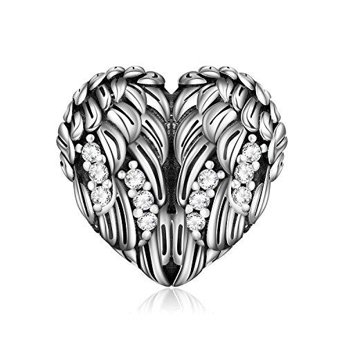 Lonago Angel Wing Heart Shape Charm 925 Sterling Silver Animal Bead Fit European Bracelet Necklace