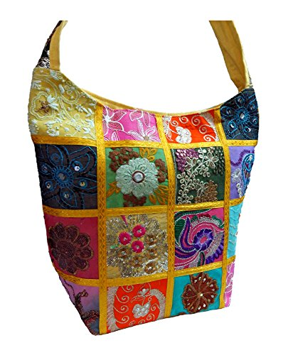 ANYA Embroidered Sequin Patchwork Indian Sari Throw Decorative Sling Cross body Shoulder Bag, Boho Hobo Vintage Bag