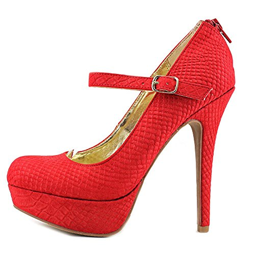 Material Mary Koko Womens Pumps Strap Closed Snake Jane Toe Girl Red Ankle 40grnq4FW