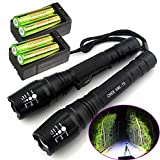 2 set of 2000 Lumen Zoomable CREE XM-L T6 LED 18650 Flashlight Torch with Battery and Charger